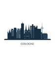 cologne skyline monochrome silhouette vector image vector image