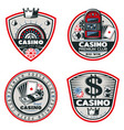 colored poker and casino emblems set vector image vector image