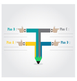Creative template with pencil ribbon banner vector image vector image