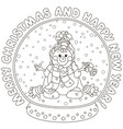 crystal ball with a funny snowman vector image vector image