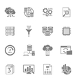 Database Analytics Black Icons Set vector image vector image