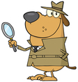 Detective dog holding a magnifying glass vector image