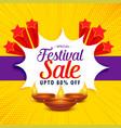 diwali sale banner or poster design for festival vector image