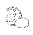 dotted shape cute moon with sleep hat design and vector image vector image