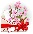 envelope with cherry blossom vector image vector image