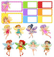 fairies flying and frame design vector image vector image