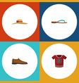 flat icon clothes set of beach sandal t-shirt vector image