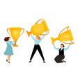 girl power flat businesswomen with gold trophy vector image