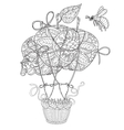 Hand drawn doodle outline air balloon in flight vector image vector image