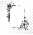 Hand drawn vintage flower frame on transparent vector image vector image