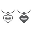 heart necklace line and glyph icon love and vector image vector image