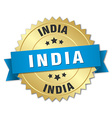 India round golden badge with blue ribbon vector image vector image