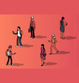 isometric set faceless people in casual vector image vector image