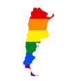 lgbt flag map of argentina vector image