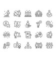 management line icons set of business audit vector image
