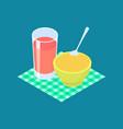 millet porridge and fruit juice breakfast healthy vector image