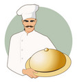 moustached chef with a kitchen hat carrying a vector image vector image