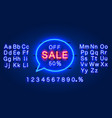 neon chat frame 50 off text banner night sign vector image vector image