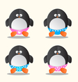Penguin in different underwear cartoon vector image