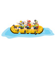 rafting six people and dog in yellow boat vector image