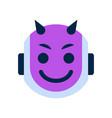 robot face icon smiling devil face emotion robotic vector image vector image