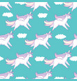seamless pattern background cute pig as pegasus vector image vector image