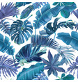 seamless pattern with blue tropical leaves vector image