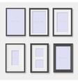 set black photo frames on wall vector image vector image