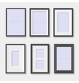 Set of black photo frames on the wall vector image