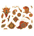 set of hand drawn different mehndi elements vector image