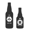 set vintage craft beer bottles brewery badges vector image