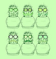 set with cartoon cactus in glasses with a mustache vector image vector image