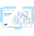 teamwork landing page people working vector image vector image