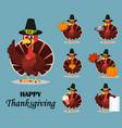 thanksgiving turkey bird wearing a pilgrim hat vector image vector image