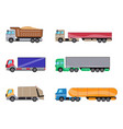 trailer trucks side view icon set isolated on vector image vector image