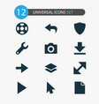 user icons set with protect play camera and vector image