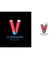 v blue red letter alphabet logo icon design vector image