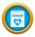 valentines day calendar icon blue isolated vector image vector image