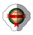 color round emblem with ribbon icon vector image