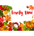 autumn nature poster for thanksgiving day design vector image vector image