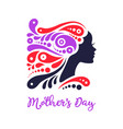 beautiful ornamental hair girl silhouette of vector image