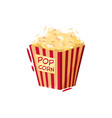 box of popcorn tasty snack symbol of cinema or vector image