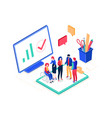 business meeting - modern colorful isometric vector image