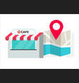 cafe or store location with pin pointer vector image