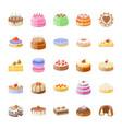 cake flat icons set vector image