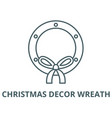 christmas decor wreath line icon linear vector image vector image