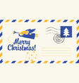 christmas envelope with angel snowflake and fir vector image