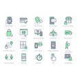 click and collect service line icons vector image