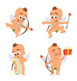 cupid angel love character set for valentine day vector image vector image