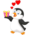Cute penguin holding present vector image vector image